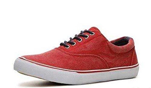 Crevo Verkeerd-fit Heren Gewassen Canvas Sneakers Schoenen Rood