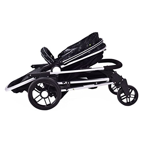 MD Group Baby Stroller 2-In-1 Foldable Aluminum Alloy Black Oxford Switchable Kids Travel by MD Group (Image #5)