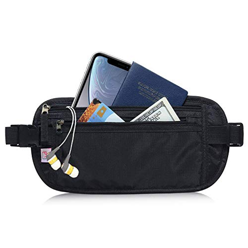 AIKELIDA RFID Blocking Travel Wallet - Money Belt & Passport Holder for Women Men - Black]()