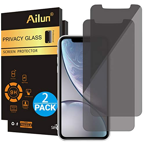 Ailun Privacy Screen Protector Compatible iPhone XR 6.1Inch 2018 Release 2 Pack Japanese Glass 0.25mm Anti Spy Tempered Glass Anti Scratch Case Friendly (Wireless Elevator Phone)