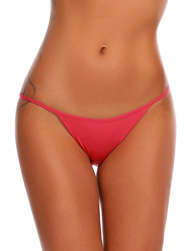 Ekouaer Soft Breathable Thong Brief Panties Cotton Underwear for Women 3 Pack (XL, C (Red 3 Pack)) ()