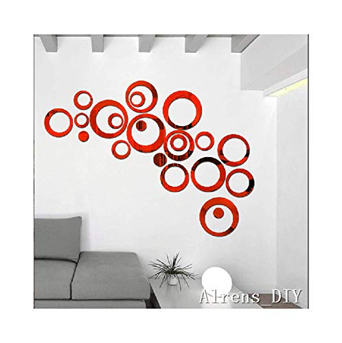 Alrens_DIY(TM) 22pcs Rounds Dots Circles Mirror Surface Crystal Wall Stickers DIY Acrylic 3D Home Decal Living Room Murals Wall Paper Decor adesivo de Parede-4 Colors (Red) (Red And Black Living Room Decorating Ideas)
