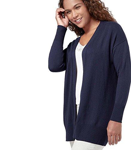 Navy Ouvert Coton Femme Overs Classic Cachemire en Wool Gilet et 6qw7pRTcWU