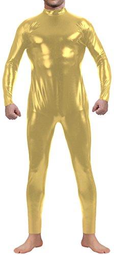 Marvoll Shiny Metallic Long Sleeve Zip Back Unitard Bodysuit for Kids and Adults (Kids Medium, Light (Superman Leotard)