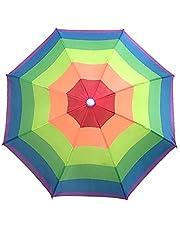 LOPADE 2021 chapéu de guarda-chuva para crianças e adultos ao ar livre, chapéu de pescaria arco-íris e dobrável, à prova d'água, mãos livres, festa, praia, touca