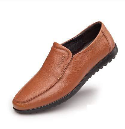 de Oficina Hechos Naranja tamaño Zapatos Qiusa la a Genuino Negocios de para Color de Casuales 42 Cuero Hombres Mocasines Mano EU O5qxT18