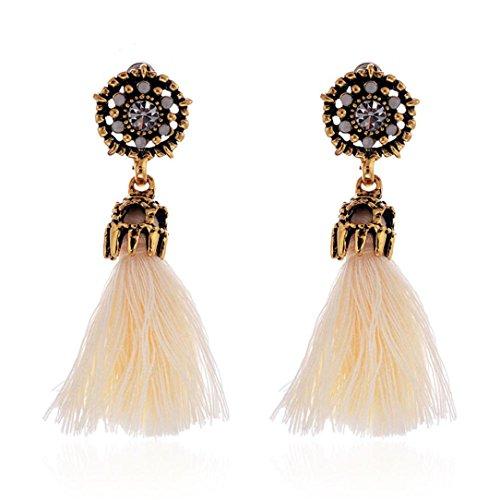 DZT1968 Women Girl Vintage hollow Crystal Tassel Dangle Stud Earrings Jewelry (Beige)