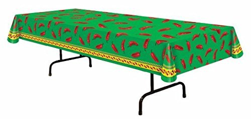 Mexican Fiesta Chili Pepper Tablecover Party Accessory (1 Count) (1/pkg) Pkg/3 (Chili Pepper Hat)