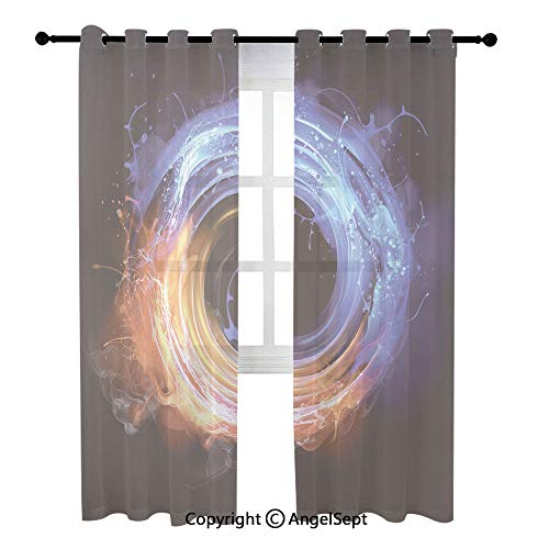 Breathable Sheer Curtains,Swirling fire and Water Illustration,(54Wx90L) inches,2 Panels,Curtain Panels for Kitchen,Bedroom and Living Room