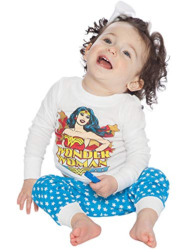 Retro Batman And Robin Costumes (Wonder Woman Baby Girls' Classic Wonder Woman Retro Pajama Set, White, 24)