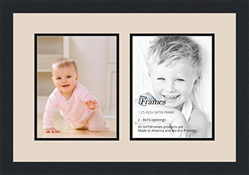 Art to Frames Double-Multimat-36-825/89-FRBW26079 Collage Photo Frame Double Mat with 2 - 8x10 Openings and Satin Black - Ply 2 Sawtooth