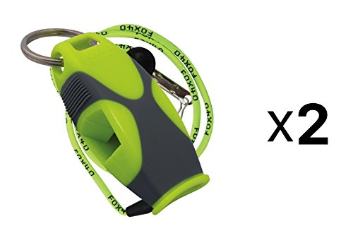 Fox 40 Sharx Whistle w/ Lanyard Referee Survival Outdoor Safety Lime (2-Pack)