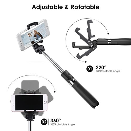 Bluetooth Selfie Stick Tripod, ELEGIANT 2 in 1 Extendable Monopod Selfie Stick with Removable Mini Bluetooth Remote, Adjustable Head and Tripod Stand Selfie Stick for iPhone/Huawei/Samsung (Black) by ELEGIANT (Image #4)
