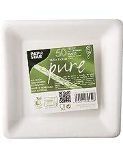 """50 borden, suikerriet """"pure"""" vierkant 15,5 cm x 15,5 cm wit bio-wegwerpborden"""