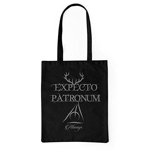 Shopping Harry Potter Patronum Bag Negro Bolsa Expecto Algodón 100 Tela Lamaglieria Tote De Grey Print fpABAF