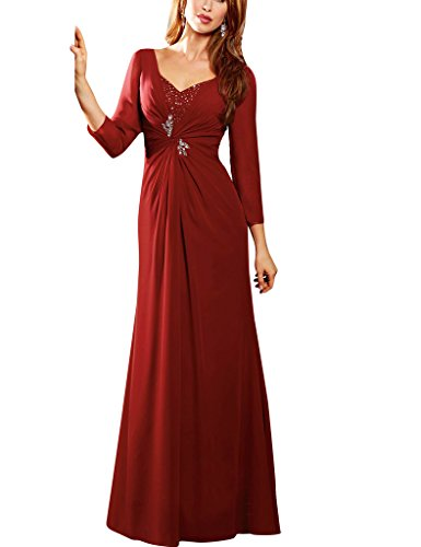 H.S.D Long Sleeves Chiffon V-Neck Mother Of The Bride Dresses Prom Formal Gowns