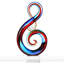 Tooarts Music Note Glass Sculpture Home Decor Ornament Gift Craft Decoration 14""