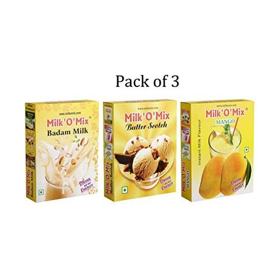 Milkomix Badam Milk, Butter Scotch & Mango Flavored Milk Powder