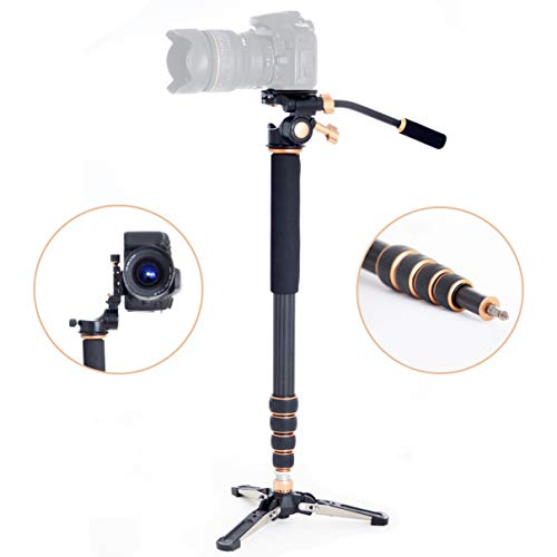 Professional Carbon Fiber Monopod Kit with Photo and Video 3-Way Head & Multi Direction Fluid Base for DSRL Cameras and Videocameras Pole Stick from Sensei Photo