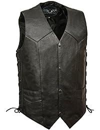 BOS13515-BLACK-Men's concealed carry single back panel classic biker leather vest.-BLACK-48