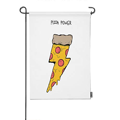 HGOD DESIGNS Pizza Garden Flag,Funny Piece of Pizza with Salami in The Shape of Lightning Welcome Decorative Garden Flags Cotton Linen Waterproof for Garden Banner 12