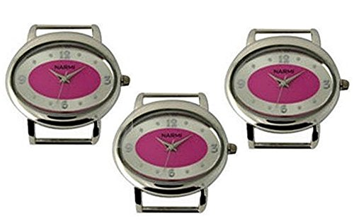 PlanetZia 2pcs Oval Ribbon Watch Faces with Hot Pink Dial for Interchangeable Beaded Bands 6565-HP