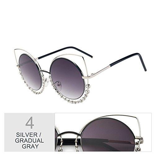 de UV400 de de tonos TL Diamond sol Gafas para gradual de Señor plata el sol Gray gris Gradual a Silver Eye gafas degradado mujeres gafas Cat Sunglasses espejo de de rYYzqxOH