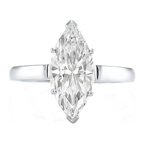 White Gold 1 Carat Marquise (0.95 Carat Near 1 Carat Marquise Shape 14K White Gold Solitaire Diamond Engagement Ring)
