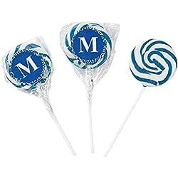 Personalized Blue Monogram Swirl Lollipops