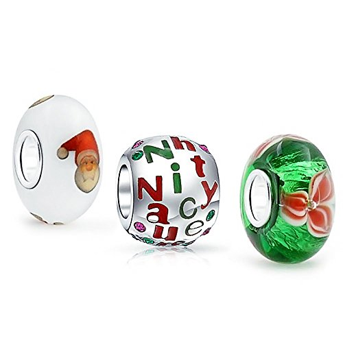 (Murano Glass Christmas Poinsettia Santa Claus Naughty Nice Word Charm Bead Set For Women For Teen Sterling Silver)