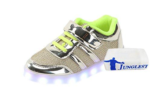 [Presente:pequeña toalla]JUNGLEST® Unisex 7 Colors USB Carga LED Luz Luminosas Flashing Sneakers Altotop Zapatos Zapatillas de Depo c7