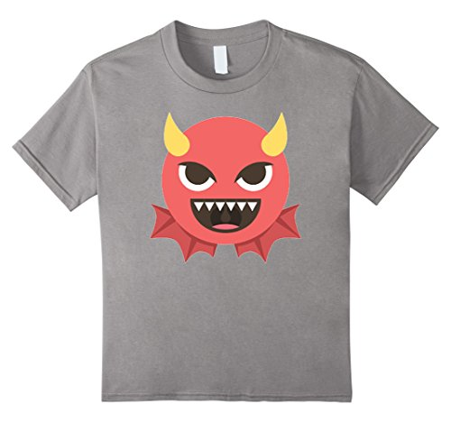 Youth Devil Costume (Kids Devil Halloween Emoji Costume T-Shirt 8 Slate)