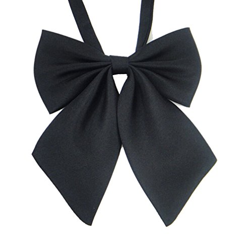 Ladies Adjustable Pre tied Bowtie - Solid Color Bow Ties for Women ( Black