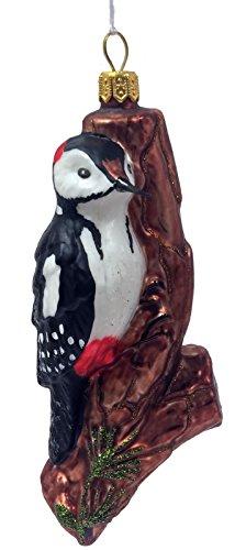 (Pinnacle Peak Trading Company Woodpecker Bird on Tree Polish Glass Christmas Tree Ornament Wildlife Animal)