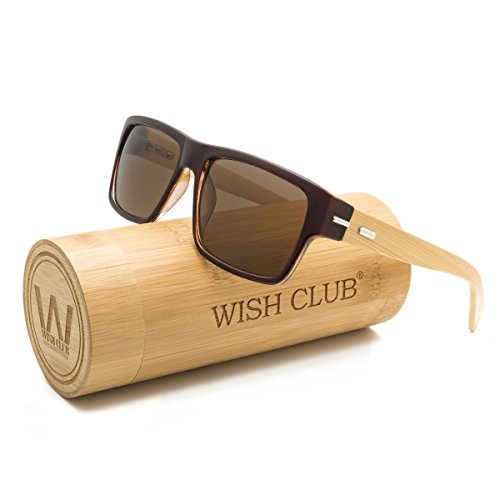 WISH CLUB Wood Wayfarer Square Handmade Sunglasses UV 400 Lenses Classical Style for Women and Men Adults Wooden Bamboo Vintage Light Retro Glasses - Glass Sun