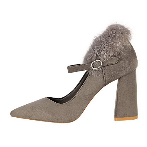 Heels Imitated Pumps Shoes Gray Suede High WeenFashion Toe Pull On Pointed Women's YCwnx4q07