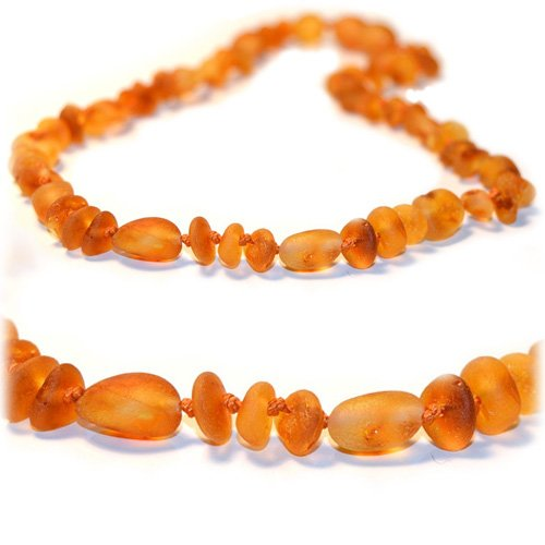 (The Art of Cure Original Baltic Amber Necklace- Polished Handmade (Raw Olive/Round) for boy or girl - 12-12.5 Inches size)