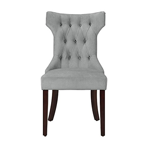 (Dorel Living DA6090-PL Clairborne Upholstered dining chair, set of 2, Gray)