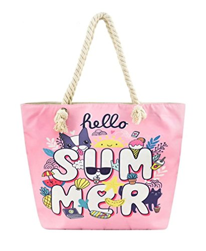 Canvas Tote Bag with Cotton Rope Handle (Pink Hello Summer) by Unknown