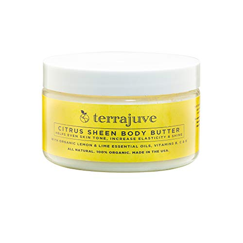 - Lemon Body Butter Essential Cream Lotion for Women, Helps Even Skin Tone, Increase Elasticity, and Glow, with Organic Lemon and Lime, Shea Butter, Vitamins B, C and E, All Natural, Made in USA
