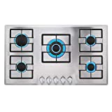 Empava 34' Stainless Steel Bulit-in Gas Cooktops 5 Italy Imported Sabaf Burners Stove Tops, 34GC5B90A