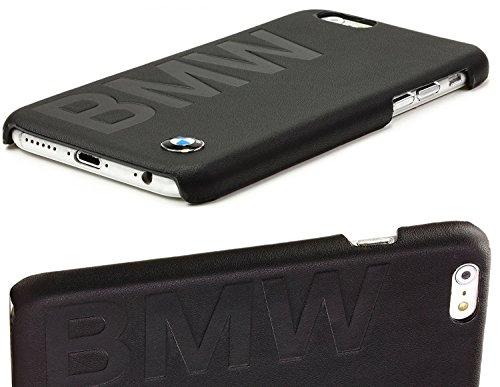 """BMW Logo Prägung 2in1 Kombiset für Apple iPhone 6S / 6 4,7"""" inch 1x Echt Leder ClipOn Hart Cover / Hülle / Case Handytasche Back Cover in Schwarz Black + 1x Displayschutzfolie aus gehärtetem Glas Panz"""