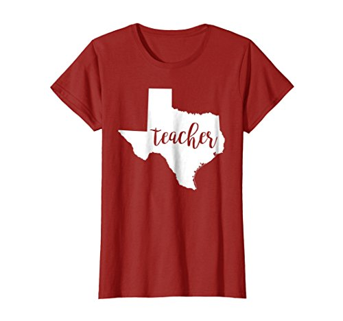 Womens Texas Teacher home state education back to school tshirts Large Cranberry