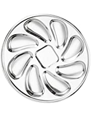 Hemoton Stainless Steel Oyster Plate Oyster Grill Pan Serving Trays Platter Snail Escargot Dishes Oyster Shell Shaped for Oysters Lemon Sauce