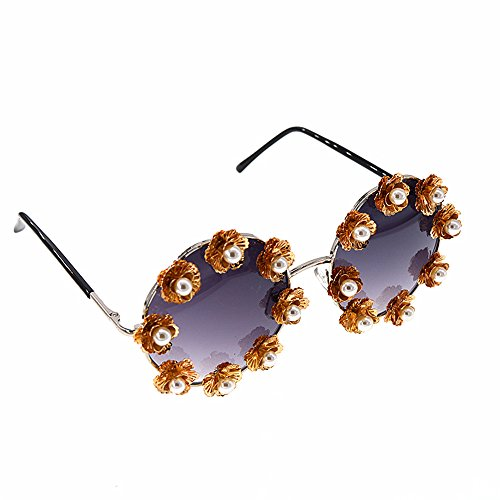 rétro Lunettes de Baroque de Lunettes Les GWF Femmes polarisées métal Fleurs Perles Soleil de Lunettes Mode pour Soleil en Soleil RCnX1p