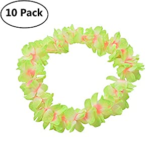 Genenic 10 Pack Hawaiian Artificial Flowers Leis Garland Necklace Fancy Dress Party Hawaii Beach Fun Flowers DIY Party Beach Decoration 15