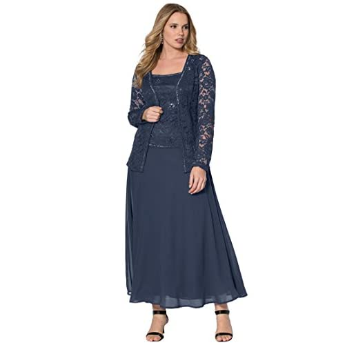 New Roamans Womens Plus Size Beaded Lace Jacket Dress Www