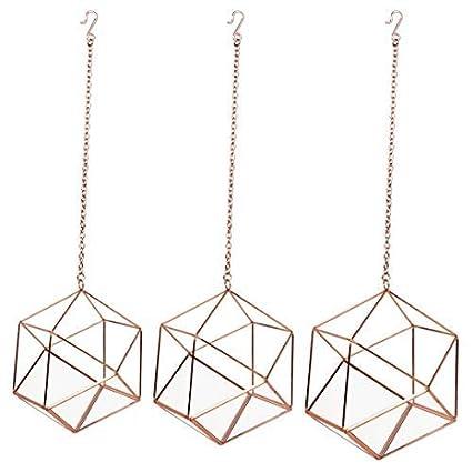 Amazon Com Koyal Wholesale Metal Geometric Terrarium Set Of 3