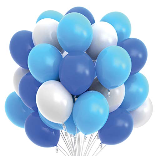 Prextex 75 Party Balloons 12 Inch Dark Blue, Light Blue and White Balloons with Ribbon for Blue White Color Theme Party Decoration, Boy Baby Shower, Birthday Parties Supplies, Helium Quality ()