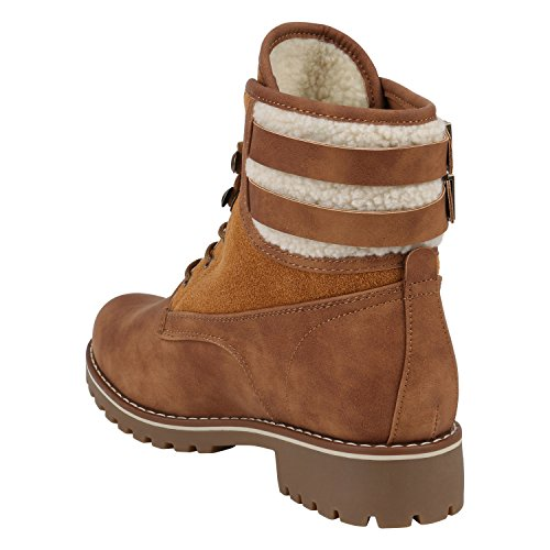 Stiefelparadies Damen Stiefeletten Worker Boots Blockabsatz Glitzer Profilsohle Flandell Hellbraun Schnallen